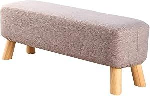 CAIJUN Pouf Poggiapiedi Ottomane Legno Massiccio Tessuto di Juta Lavabile Traspirante Divano Panchina, 2 Dimensioni, 4 Colori (Colore : Gray, Dimensioni : 90x30x35cm)