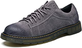 QINRUIKUANGSHAN Men's British Leisure Classic Leather Business Casual Breathable Shoes Round Toe Lace Up Low Top Simple and Practical Product