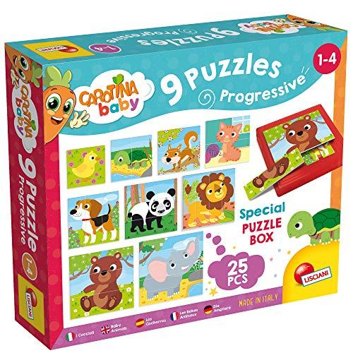 Lisciani Giochi- Carotina Baby Cuccioli Progressive Puzzles, 9 Pezzi, Multicolore, 58433
