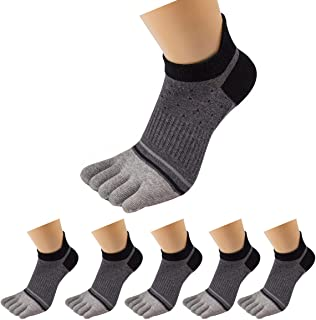 Men Cotton Low Cut Athletic Toe Socks 5 Finger No Show Mesh Wicking 6 Pack