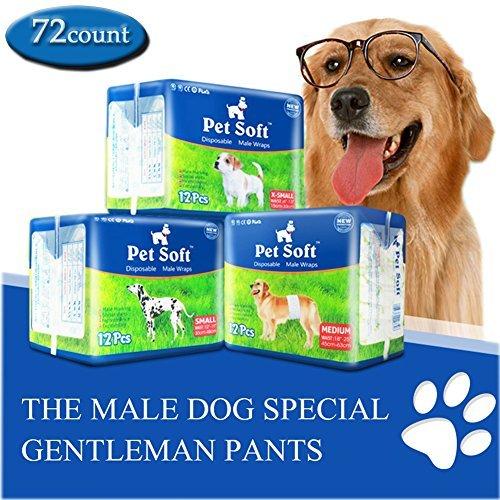 Pet Soft Disposable Male Wrap Dog Diaper, 72 Count, XS
