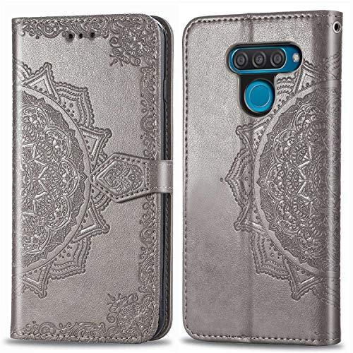 Bear Village Hülle für LG Q60 / LG K50, PU Lederhülle Handyhülle für LG Q60 / LG K50, Brieftasche Kratzfestes Magnet Handytasche mit Kartenfach, Grau