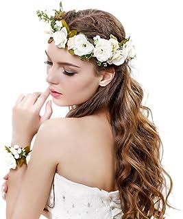 d0a048eb935 Ever Fairy Women Flower Wreath Crown Floral Wedding Garland Headband Wrist  Band Set