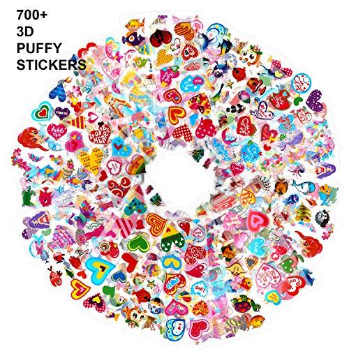Howaf Pegatinas Pack para Infantiles, 700+ 48 Hojas Diferentes 3D Pegatinas Hinchada Animale Marinos Sirena Corazón para Infantil de Fiesta Cumpleaños Regalo Recompensa Album Scrapbooking Manualidades