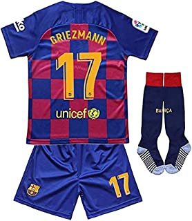 New 2019/2020 Season 17 Griezmann Barcelona Home Kids Jersey/Shorts/Socks