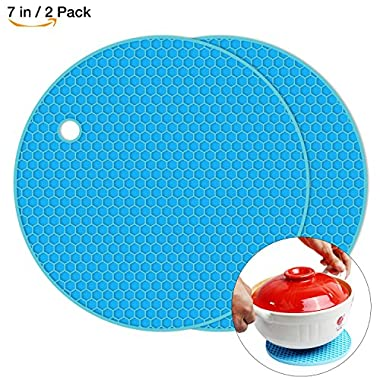 Silicone Pot Holder 2 Pack, Circular Cup Insulation Mat, Flexible And durable, Heat Resistant HB-GJD/Round/Blue/2 Pcs