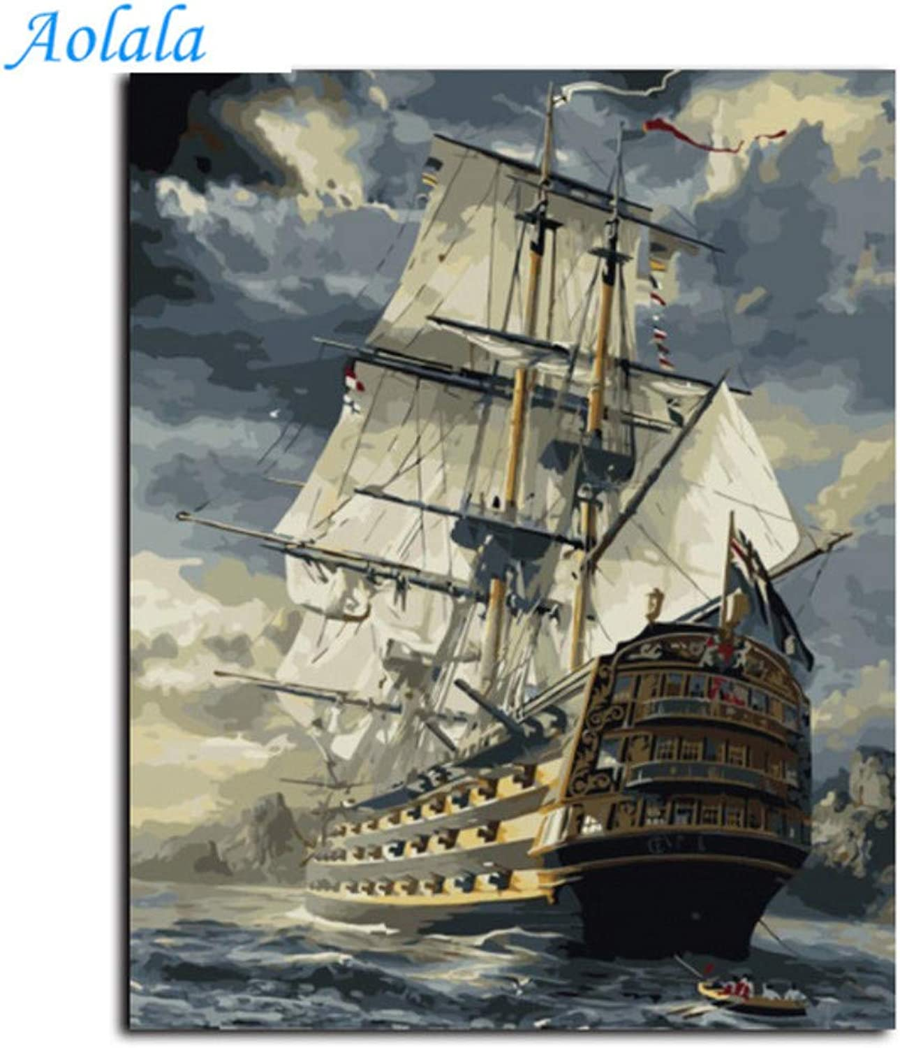 Sailing Boat DIY Oil Painting by Numbers Kit Paint On Canvas Home Wall Art Picture,60x75cm