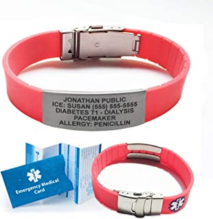 Silicone Sport Medical Alert ID Bracelet (Incl. 5 Lines of Custom Engraving). Choose Your Color! - (Coral Red)