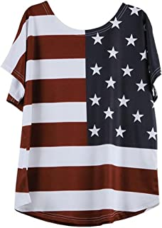 WILLBE Women's American Flag Shirt 4th of July Patriotic Blouse T Shirt Women's Loose Striped Tops Print T-Shirt Top