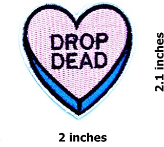 Drop Dead Heart Logo Pink&Blue Funny Cool Cartoon Children Kid Patch Clothes Bag T-Shirt Jeans Biker Badge Applique Iron on/Sew On Patch