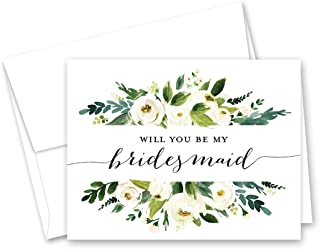 Greenery Floral Will You be My Bridesmaid Card, Bridesmaid Proposal Card, Maid of Honor Card - Set of 10