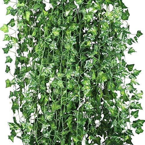 LIUZKH 12 ps plantas artificiais de videira flores falsas hera pendurado guirlanda para a festa de casamento casa barra decorao da parede do jardim ao ar livre