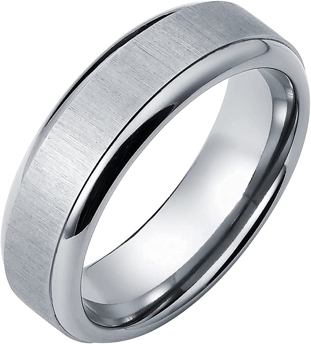Titanium 7mm Comfort Fit Wedding Band Ring with Brushed Finish Center