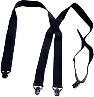Holdup Brand USA made All Black Hidden Undergarment No-Alarm Suspenders with Patented Black Gripper Clasps