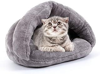 KKmoon 猫ハウス 猫 ベッド ペット用寝袋 保温防寒 洗える ドーム型 Sサイズ 洞窟 暖かい もこもこ 防寒 冬寒さ対策 ペット用品 暖かい キャットハウス 洗える 寝床 ウサギ 猫犬小動物用 グレー