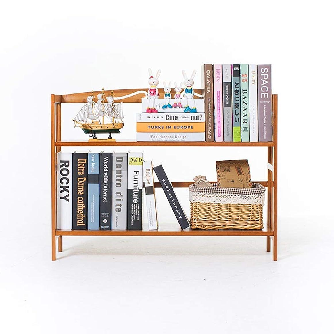 着実にエミュレートする受益者パイン無垢材2層本棚シンプルな多層ラック (色 : Wood color, サイズ : 2-Tier 50)