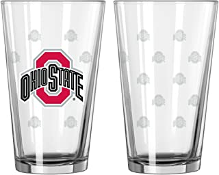 Boelter Brands 129108 Ohio State Buckeyes Glass Pint Satin Etch 2 Piece Set One Size Clear