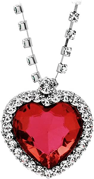 Voberry Love Heart Pendant Necklace Silver Heart Choker Necklaces With Red Blue Crystals For Women Girlfriend Best Friends Birthday Anniversary For Her Red