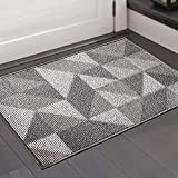 Color&Geometry Non-slip Dirt Trapper Door Mat 50 x 80 cm, Machine Washable Soft Doormat Barrier Rug Entrance Rug for Front Back Door, Indoor, Entryway, Hallway (Grey)