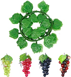 CSPRING 12 Strands Artificial Green Fake Grape Vines Ivy Leaves (90Ft) with 4 Strings Grapes Hanging Plant Leaf Garland for Wedding Party Home Wall Decoration