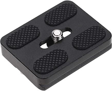 Acouto 1//4 Screw Anti-Skid Quick Release Plate 50mm Universal Camera Photography Accessory Black
