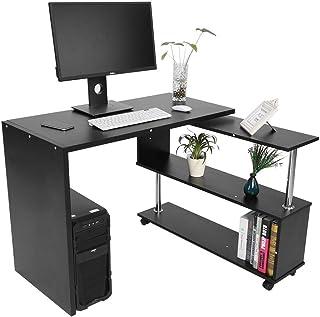 Hoekbureau met 3 planken, 360 graden roterende computertafel, ruimtebesparende L-vormige computerbureau, voor thuis en op ...
