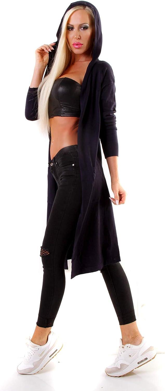 OSAB-Fashion 4630 Damen Feinstrick Kapuzen Jacke Cardigan Mantel Strickjacke Longstrickjacke Blau