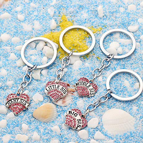 4pcs Women Girl Gift Big Middle Little Baby Sister Love Heart Pendant Key Chain Ring Set Family Jewelry (4pcs Pink B/M/L/B Sister Key Chains) Photo #6