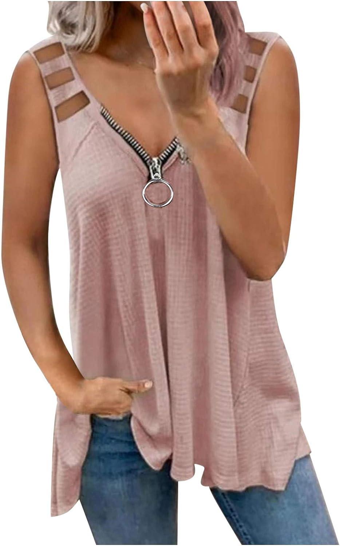 Camisetas para Mujer de Talla Grande Manga Corta con Cuello en V Sueltas de Verano Básicas de Túnica con Cremallera, Moda Estampado Retro Superior Blusa Hombros Descubiertos Ajuste Holgado