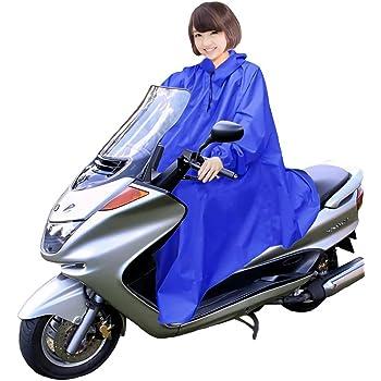 男女兼用 バイク 自転車 スクーター 用 レインコート ポンチョ 防水 フリーサイズ 雨具 雨合羽 カッパ 屋外作業 アウトドア (01.ネイビーブルー)