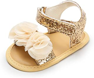 Kuner Baby Girls Cotton Bowknot Flowers Non-Slip Outdoor Toddler Summer Sandals First Walkers Shoes Gold Size: 12-18 Months M US Infant