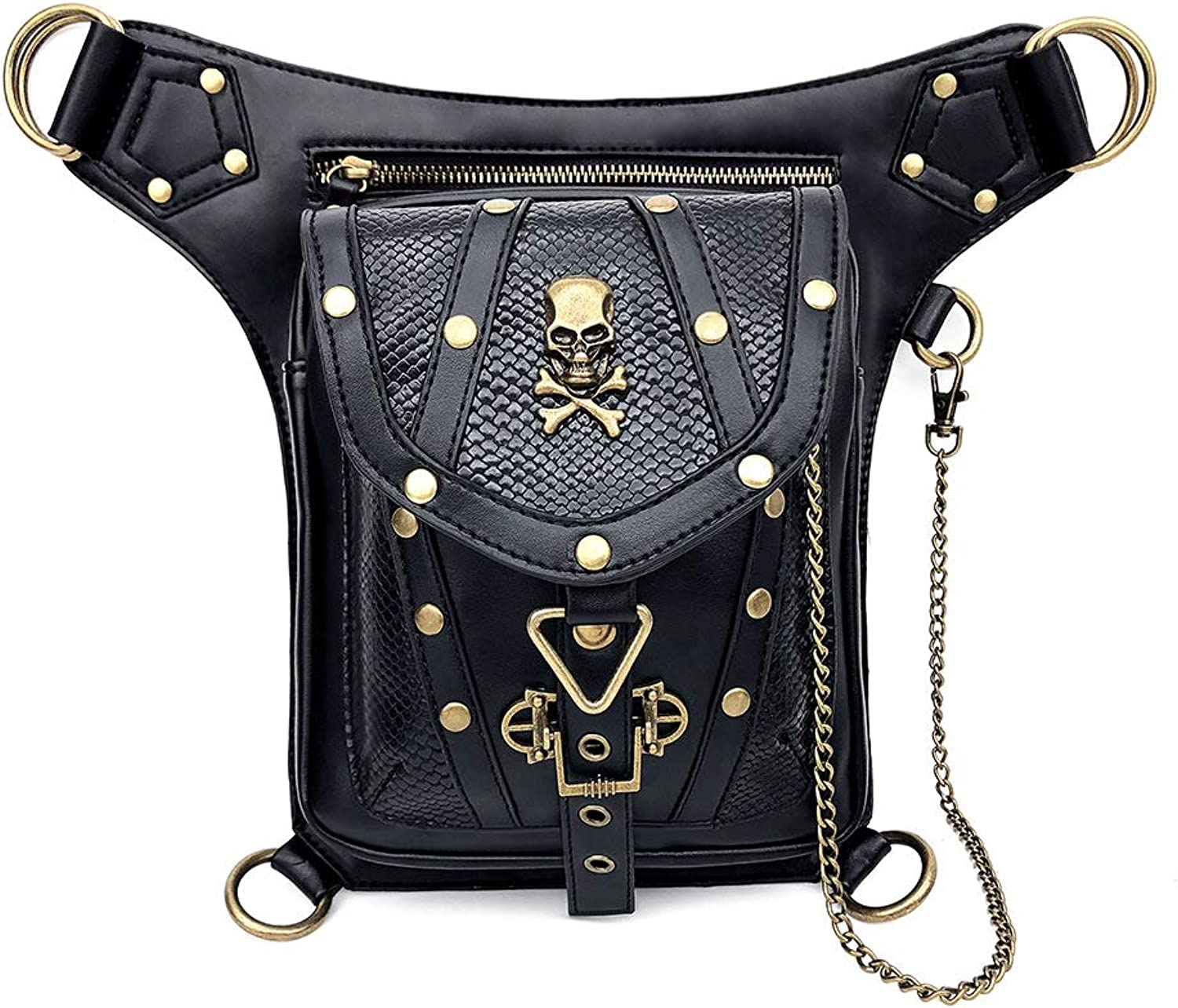 Vintage Rock Gothic Shoulder Waist Leg Thigh Holster Bags PU Leather Fanny Bag Multi-Purpose Tactical Drop Leg Arm Steampunk Retro Motorcycle Lady Bag Black