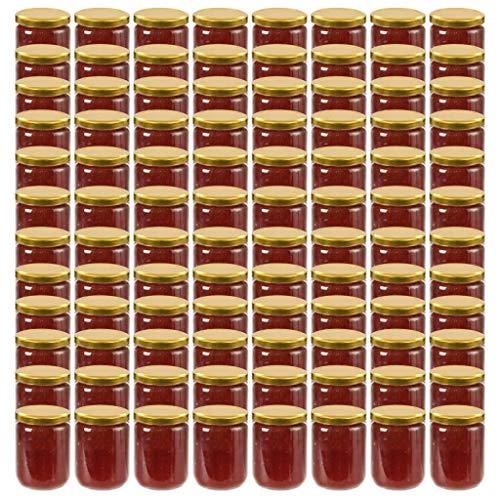 vidaXL Frascos de vidro com tampas douradas 96 pcs 230 ml