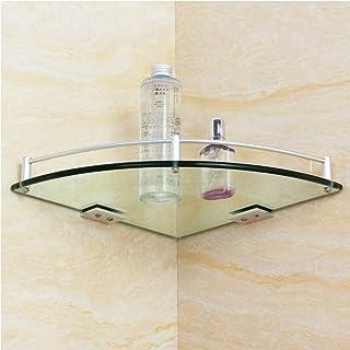 Bathroom Wall shelf Corner Shelf Single Shelves Glass Shower Storage Rack Triangular Accessories 5.25 (Size : 250mm)