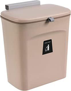 Fenteer 9L Plastic Trash Can Kitchen Waste Bin Wall Hanging Cabinet Hanging Rubbish Bin with Automatic Lid for Home Door O...