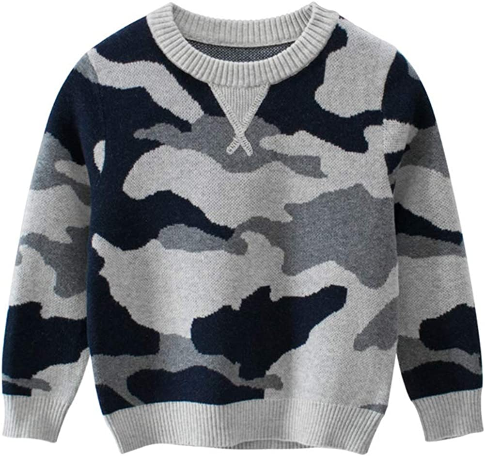 Mud Kingdom Little Boys Sweater Pullover Cute Camouflage Gray