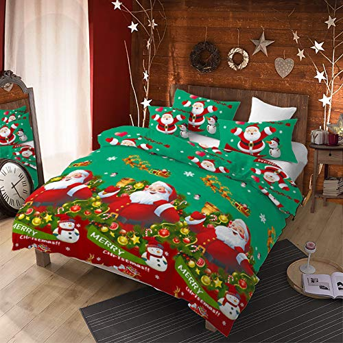 3Pcs Merry Christmas Santa Claus Snowman Duvet Cover Set Queen(90x90 inch.),Green Background Color Christmas Bedding Set Jingling Bell Sleigh Deer Snowflake Printed Bed Set for Xmas Gift (Green,Queen)