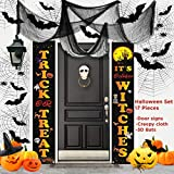 Halloween Decorations Outdoor, 17 PCS Set, 2 PCS Halloween Signs for Front Door Decoration/Porch Welcome Banners, 12 PCS 3D Black Bats, 3 PCS Black Creepy Cloth, Indoor Halloween Home Decor