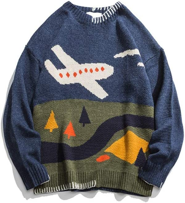 TWDYC Round Neck Pullover Men's Winter Sweater Printed Oversized Sweaters Men's Wool Blouses Sweater (Color : Blue, Size : M-length-68CM)