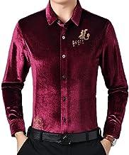 Winter Warm Shirt Heren - Herfst En Winter Warm Herenhemd Mode Goud Fluwelen Lange Mouwen Retro Slim Plus Fluwelen Verdikk...