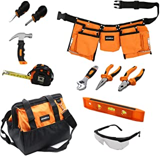AKABELA First Tool Set - Real Tool Set for Kids Steel Forged Tools for Children Kids Toolbelt Child-Sized Tools Tool Bag for Kids Real Tools for Boys Tool Set for Girls Tools for Small Hands