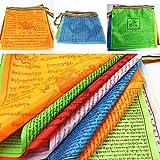 NOLOGO Gxbld-yy Religiöser Flags tibetisch-buddhistischer Bedarf Farbdruck Gebetsfahne Kunstseide Tibet Lung TA Banner Schrift Streamer (Farbe : 36x28cm)