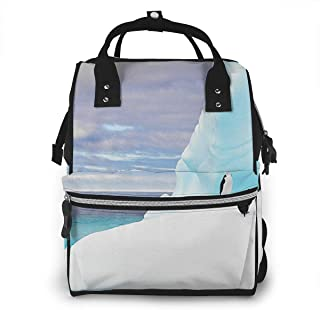 Omigge Multi-Function Travel Bags, Baby Diaper Bag Backpack for Mom, School Bags Large Capacity,Waterproof and Stylish Personalized Design - Emperor_Penguins_Antarctica_Iceberg