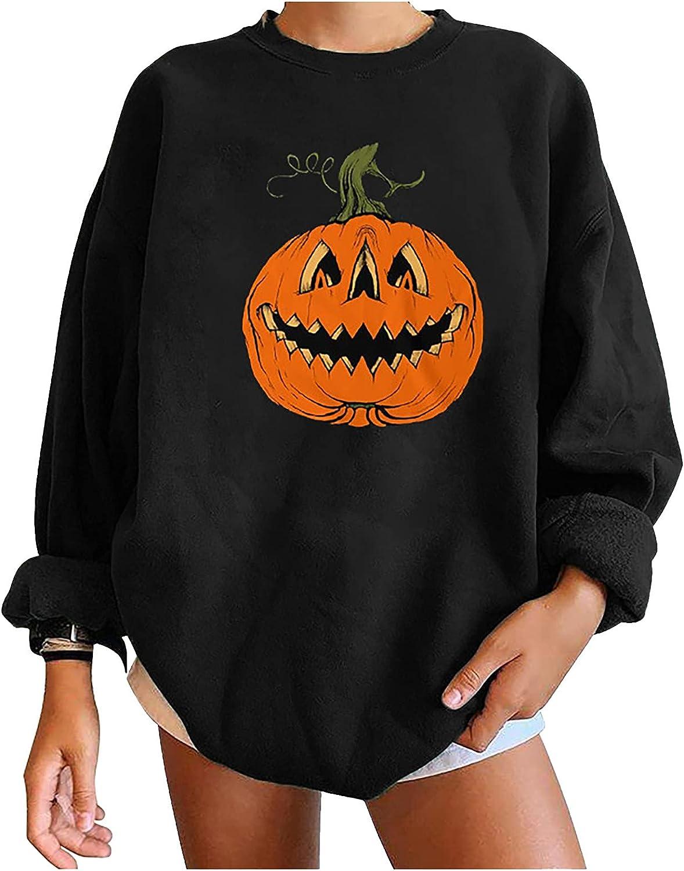 Print Sweatshirts for Women, Pumpkin Print Sweater Halloween Long Sleeve Pullover Tops Lightweight Sweatshirt