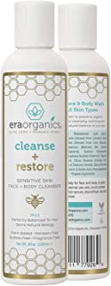 Era Organics Moisturizing Face Wash For Sensitive Skin - Gentle Sulfate Free Facial Cleanser and Body Wash with Organic Al...
