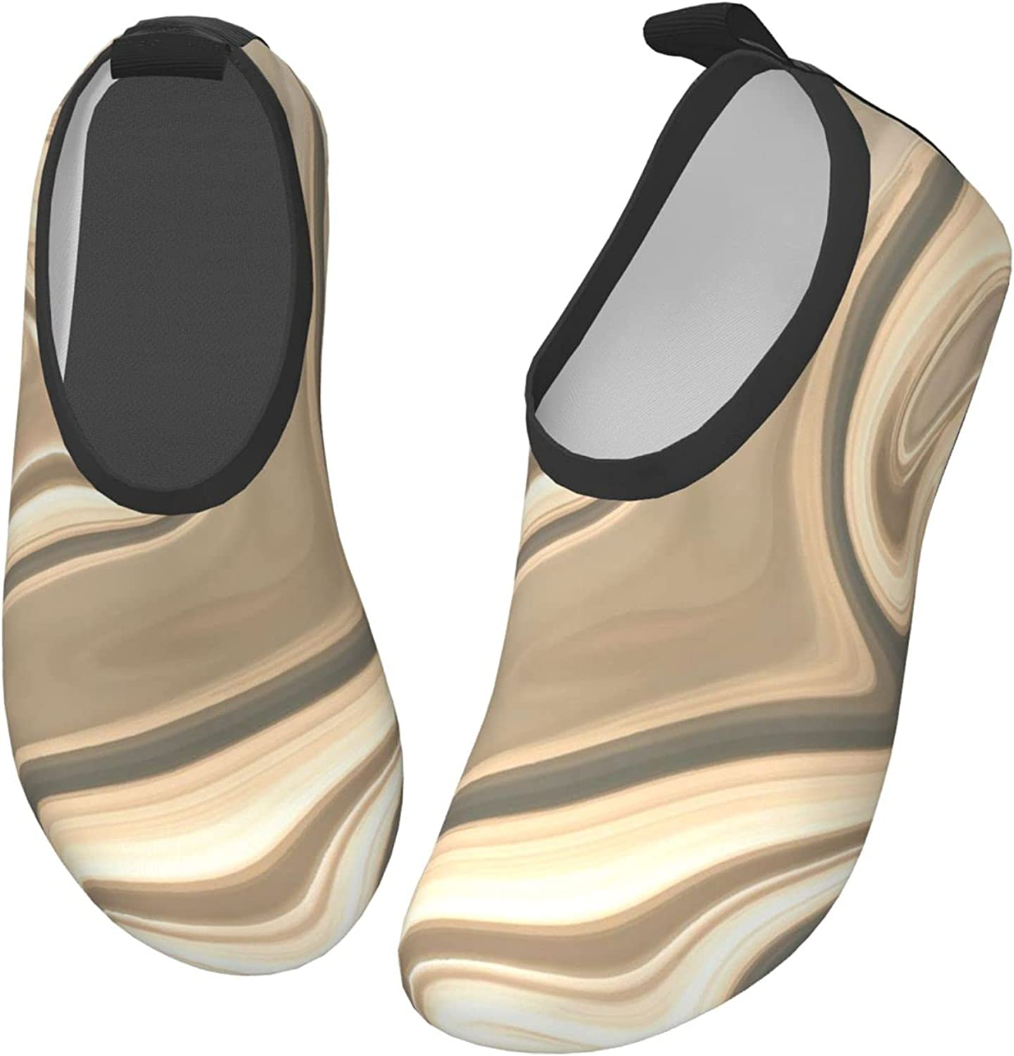 Golden Marble Texture Kids Swim Water Shoes, Non-Slip Quick Dry Barefoot Aqua Pool Socks Shoes for Boys & Girls Toddler