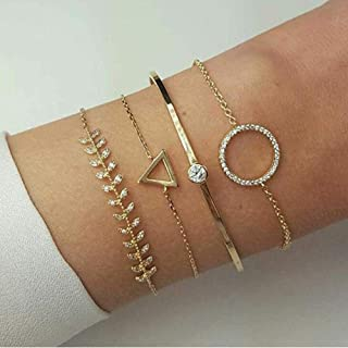 Hinyyrin 5 pcs set fashion bracelet bangles Chain Bracelet Simple Hollow Hoop Open Bracelet Ended Wide Bangle Cuff with Ci...