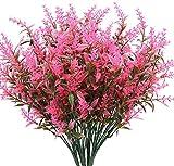 Flores artificiales de lavanda 6 piezas, arbustos artificiales realistas resistentes a los rayos UV, ramo de arbustos verdes para decorar tu hogar, cocina, jardín, interior y exterior, color rosa