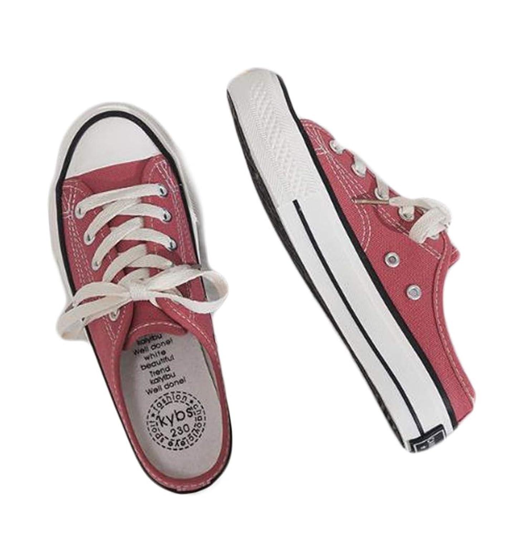 [JIANGWEI] ジャンーウェ サンダル レディース 履きやすい 婦人靴 かかとなし スニーカー サボ キャンバス 軽い クロッグサンダル カジュアルシューズ レースアップ 通学 通勤 春夏