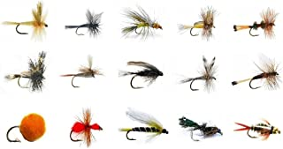 Feeder Creek Fly Fishing Lures Set - Wet and Dry Variety for Trout and Freshwater Fish - 15 Classic Patterns - Nymphs, Attractors, Streamers, Egg, Ant, and More